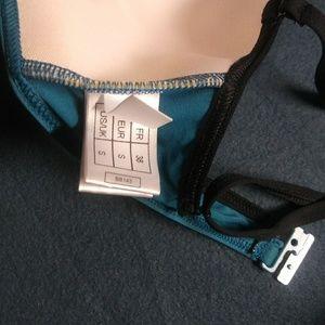 Cache Coeur Swim - Turquoise Bikini/Halter w Black Piping & Charm